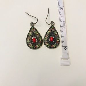 Jewelry - 3 for $8 / Red + multi-colored tear drop earrings